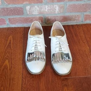 White Oxfords with silver fringe detail